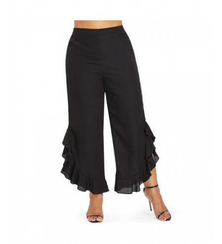 Plus Size Ruffle Wide Leg Women Pants