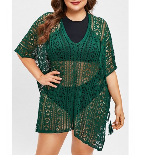 Openwork Batwing Sleeve Plus Size Cover Up