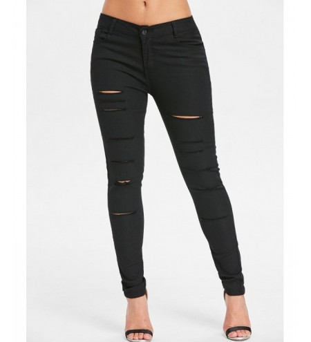 Ripped Skinny Pencil Jeans