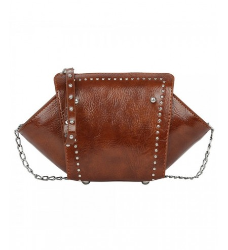 Women Vintage Rivet Print Zipper Solid Color Shoulder Crossbody Bag