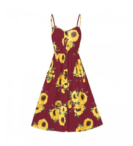 Sunflower Print Spaghetti Strap Mini Dress