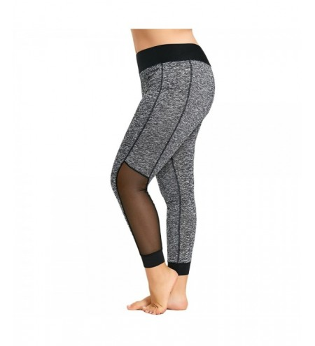 Plus Size Mesh Insert Heathered Leggings