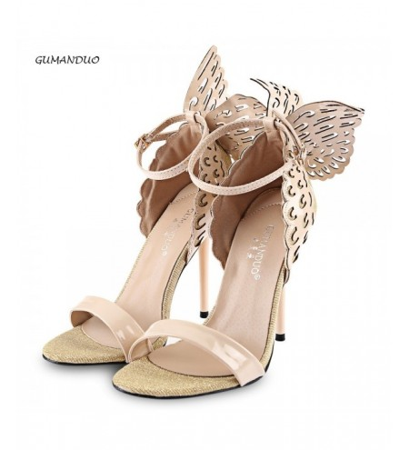 GUMANDUO Sexy Butterfly Wings Embellishment Ankle Strap Ladies Thin High Heel Sandals