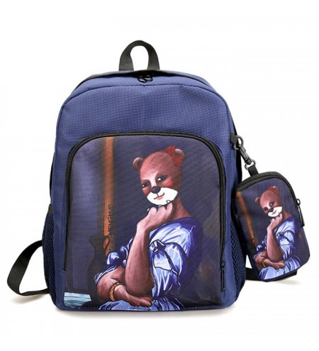 Hand Painting Side Pockets 2 Pieces Backpack Set
