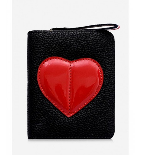 Bi Fold Heart Pattern Color Block Wallet