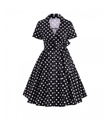 Retro Hepburn Style Polka Dot Bowknot Belted Swing Wrap Dress
