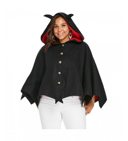 Halloween Plus Size Button Up Hooded Batwing Coat