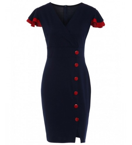 Vintage Buttons Surplice Sheath Dress