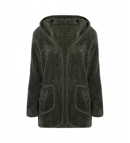 Hooded Long Sleeve Fleece Pocket Open Front Solid Color Women Coat