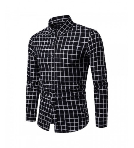 Casual Soft Slim Fit Style Plaid Men Long Sleeve Male Shirt