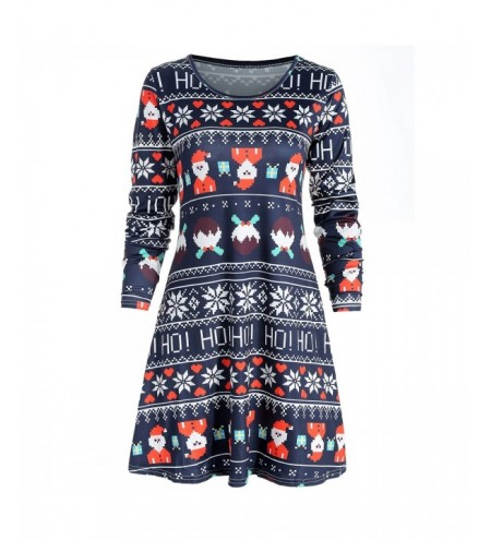 Father Christmas Print Casual Dress