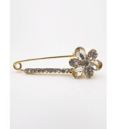 Floral Faux Crystal Embellished Brooch