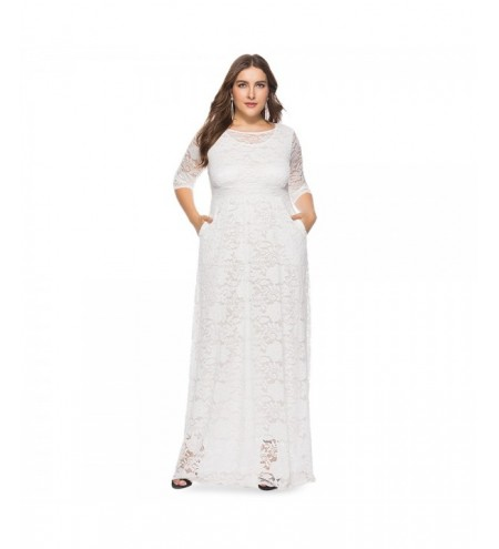 Round Collar 3/4 Sleeve Lace Crochet Plus Size Pocket Women Maxi Dress
