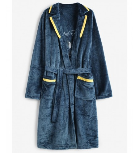 Graphic Embroidery Flannel Robe