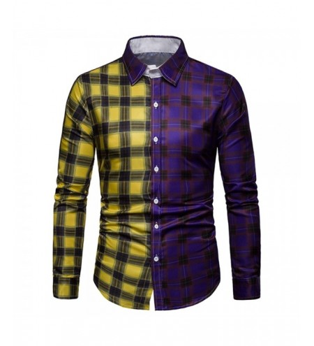 Color Block Plaid Print Long Sleeves Shirt