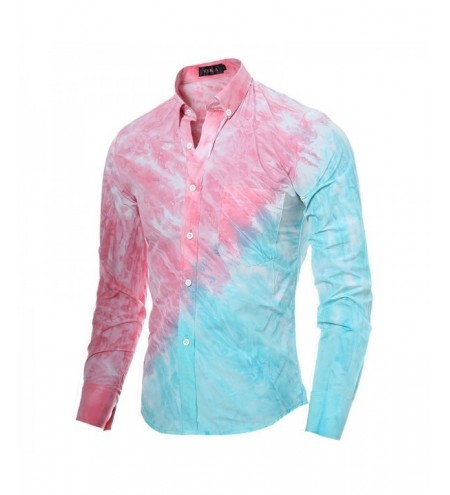 High Quality 3D Tie-Dyed Printed Oblique Stitching Casual Long-Sleeved Shirt