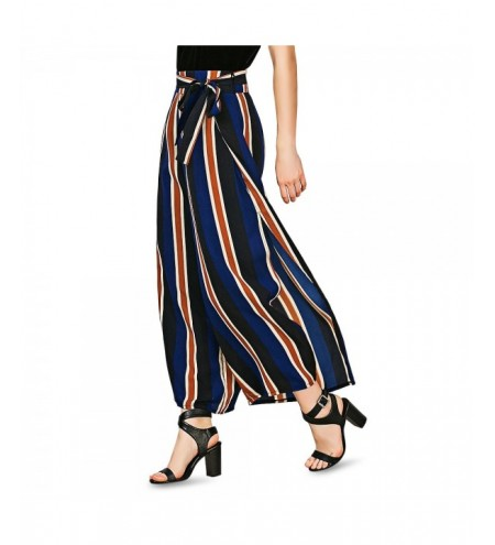 Striped Wide Leg Slit Pants