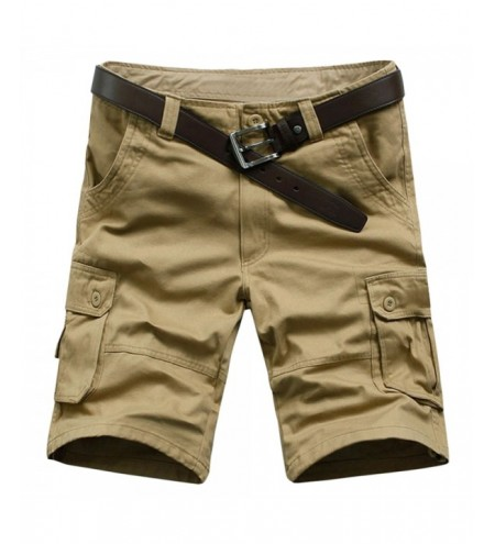 Casual Solid Color Zipper Fly Cargo Shorts
