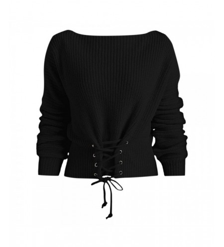Batwing Sleeve Lace Up Sweater