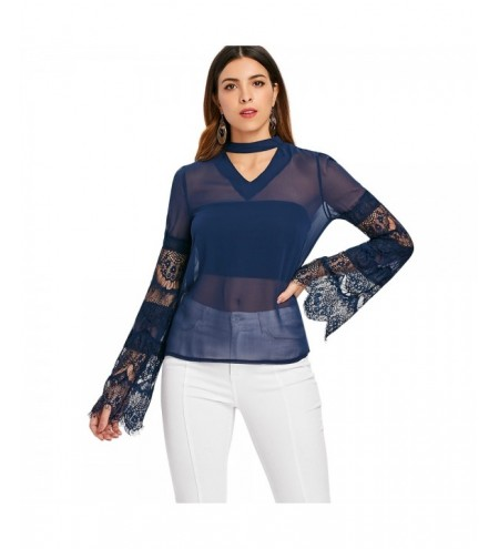 Lace Sleeve See Through Blouse