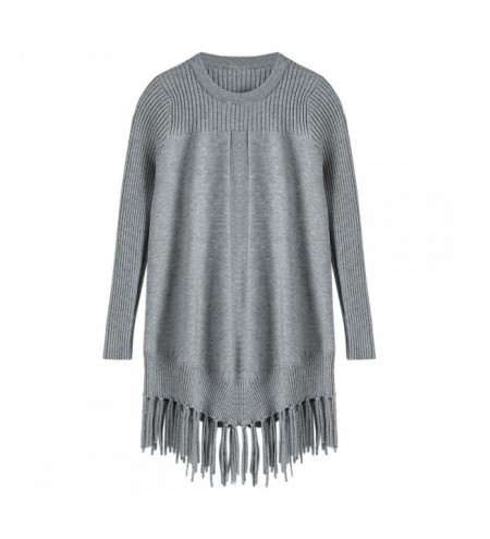 Round Neck Long Sleeves Solid Color Tassels Pullover Sweater for Women