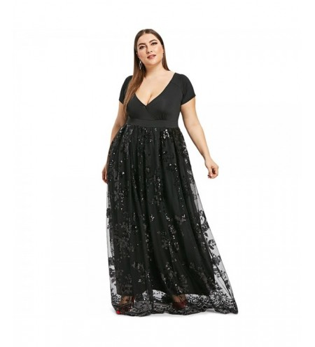 Plus Size Sequined Floral Maxi Formal Dress