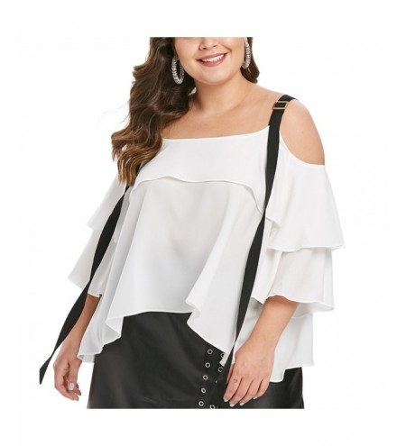 Plus Size Two Tone Flounce Blouse