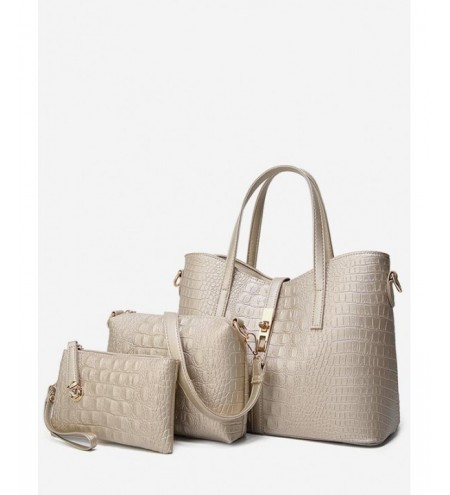 Crocodile Print Fashion 3 Pieces Tote Bag Set