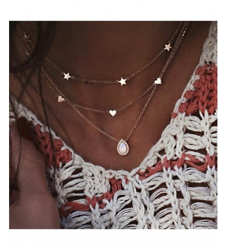 Multilayer Heart Star Opal for Women Crystal Pendant Necklaces