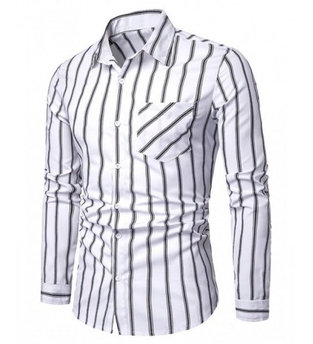 Chest Pocket Stripe Print Button Up Shirt