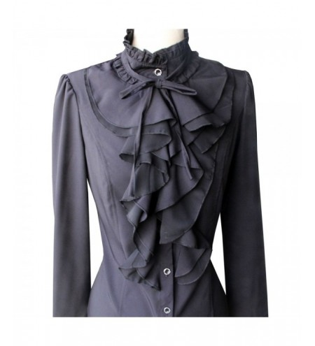 Women Office Blouses Victorian Top Button Silky Lace Collar Ruffle Satin Shirts
