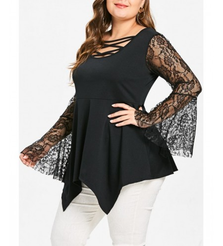 Plus Size Criss Cross Lace Panel Asymmetric Tee