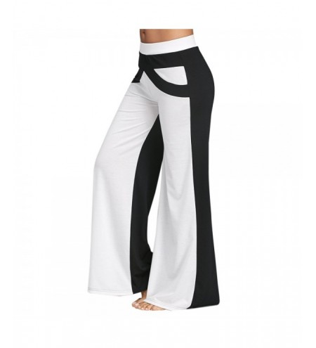 Wide Leg Pants with Color Block
