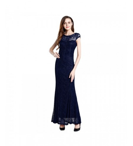 Round Collar Short Sleeve Lace Crochet Women Maxi Dress