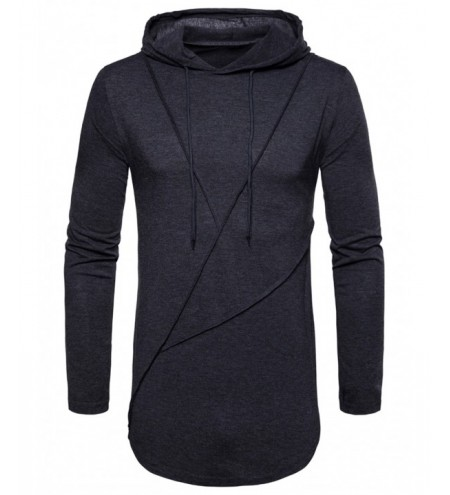 Zip Hem Long Sleeve Solid Color Hooded T-shirt