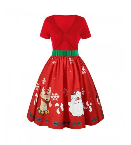 Short Sleeve Christmas Print Belted Vintage Dress