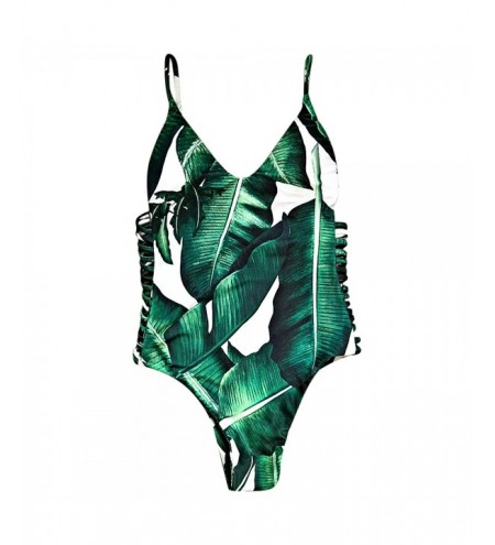 Sexy Spaghetti Strap Leaf Print Cut Out Backless Women Swimsuit