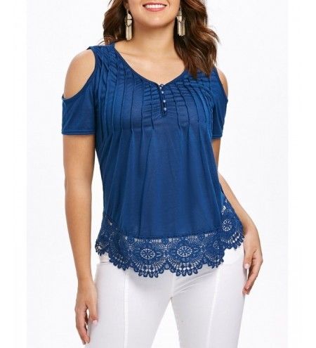 Cold Shoulder Lace Hemline T-shirt