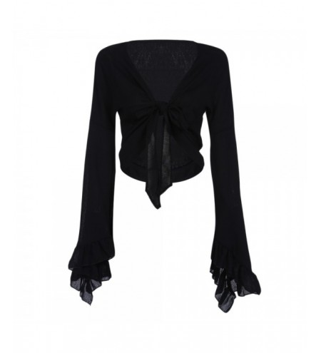 Bell Sleeve Ruffled Tied Chiffon Crop Top Women Blouse