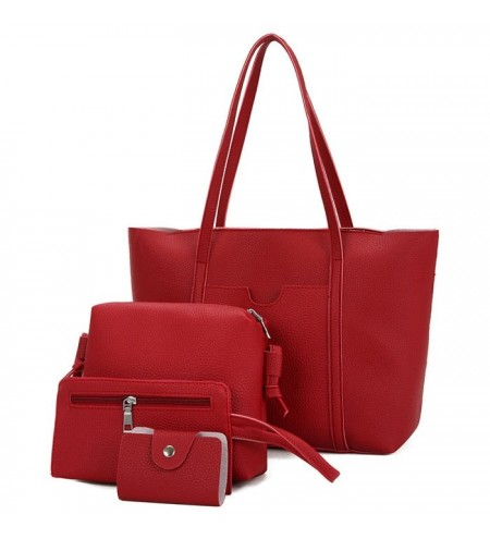 Textured Leather 4 Pieces Shoulder Bag Set