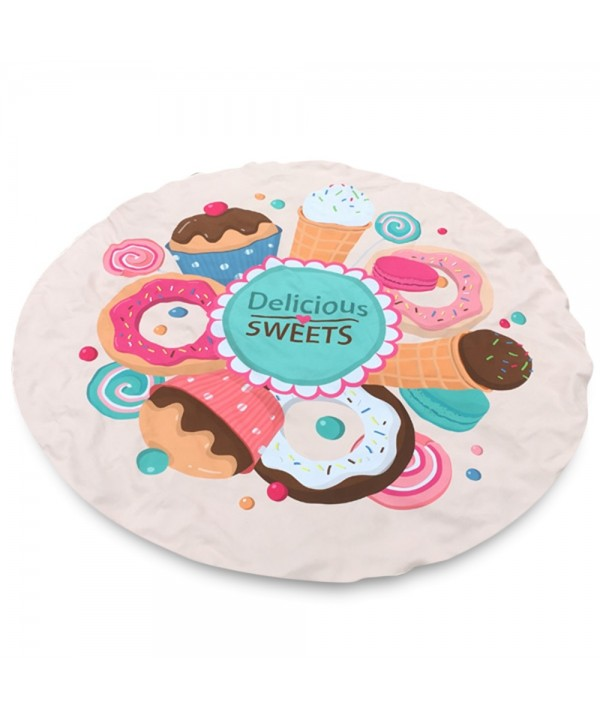 Merry Delicious Sweets Cake Donut Print Round Beach Throw