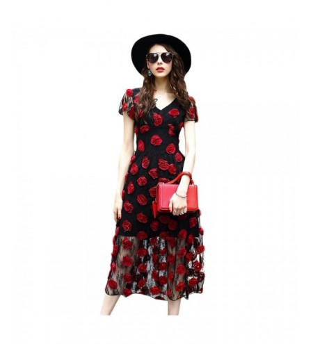 Stylish V Neck Short Sleeve Mesh Rose Women Dress