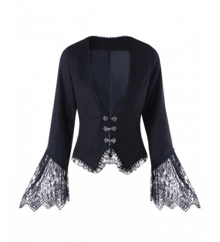 Lace Trim Plunging Coat