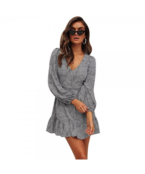 Plunge Neck Long Sleeve Print Ruffle Tied Women Mini Dress