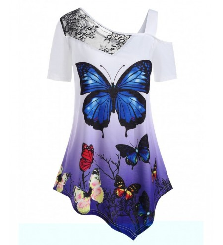 Butterfly Print Plus Size Lace Panel T-shirt