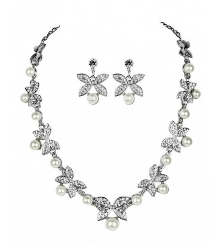 Faux Pearl Rhinestone Butterfly Wedding Jewelry Set