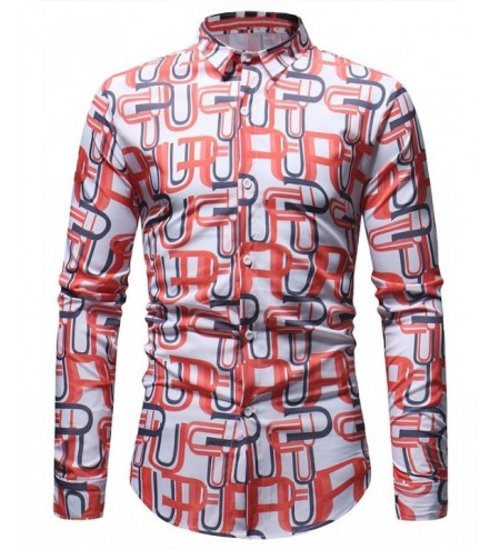 Overlapping Letter U Printed Button Up Shirt