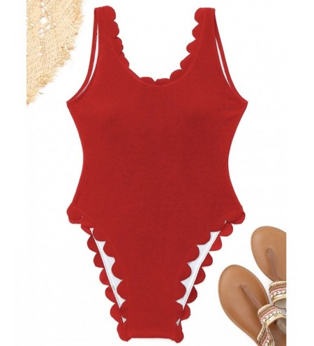 Scalloped High Cut One Piece Swimwear