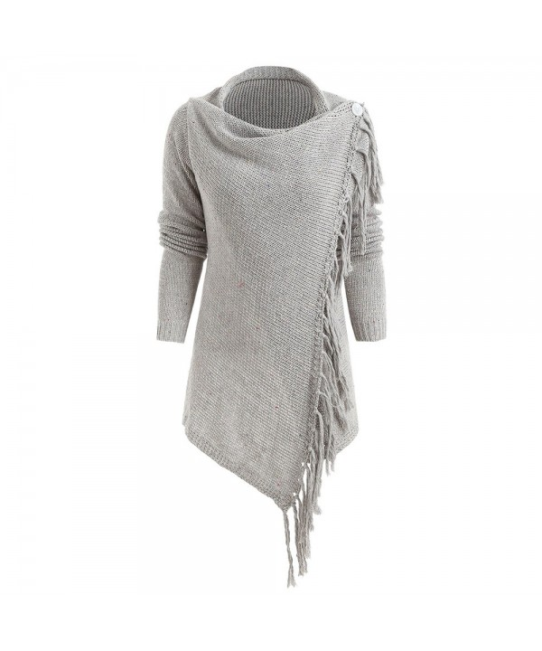Asymmetrical Fringed Knitted Cardigan