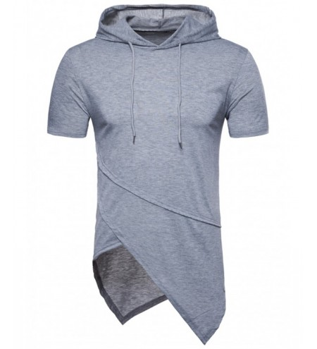 Short Sleeve Longline Asymmetrical Hooded T-shirt